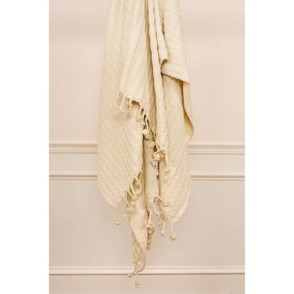 50 34 X60 34 Textured Striped Throw Blanket Ivory Rizzy Home
