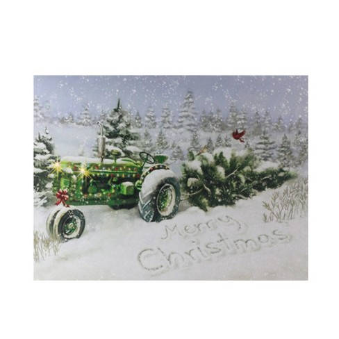 Northlight Fiber Optic And Led Lighted Merry Christmas Tractor Canvas Wall Art 12 X 15 75 Target
