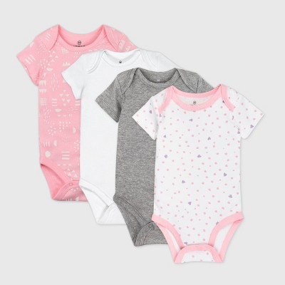 Honest Baby Girls' 4pk Love Dot Organic Cotton Short Sleeve Bodysuit - Pink 6-9M