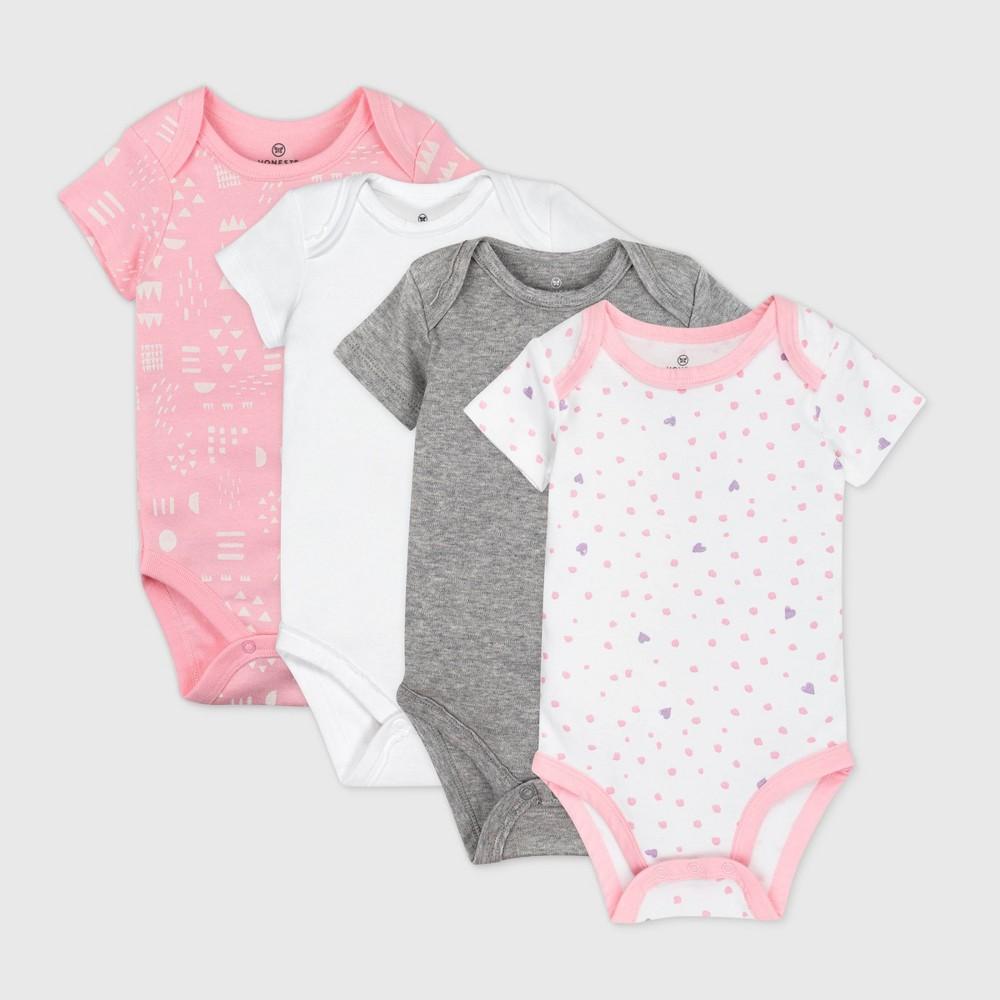 Honest Baby Girls 39 4pk Love Dot Organic Cotton Short Sleeve Bodysuit Pink 18m
