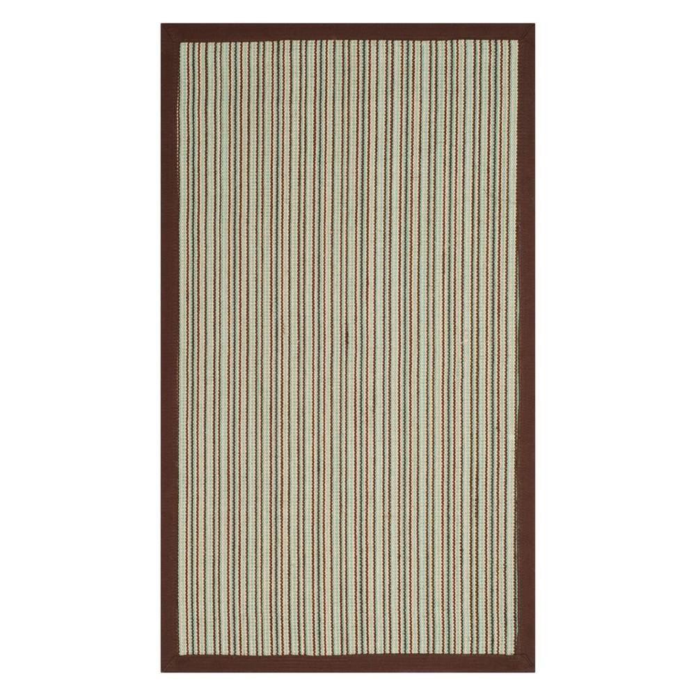4'X6' Stripe Loomed Area Rug Teal/Brown (Blue/Brown) - Safavieh