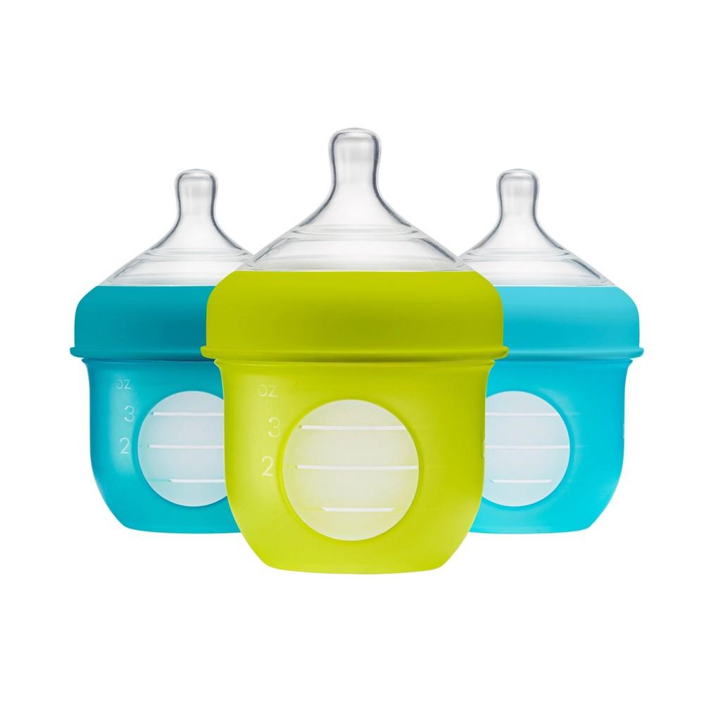 Image of Boon NURSH 4oz 3pk Silicone Bottle - Blue