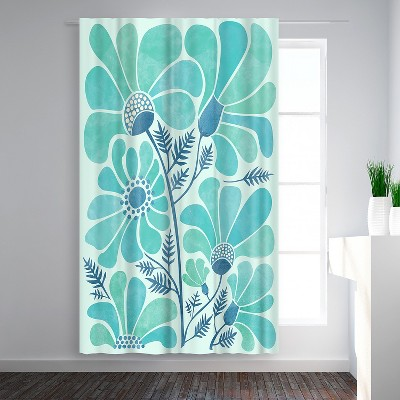 Americanflat Himalayan Blue Poppies by Modern Tropical Blackout Rod Pocket Single Curtain Panel 50x84