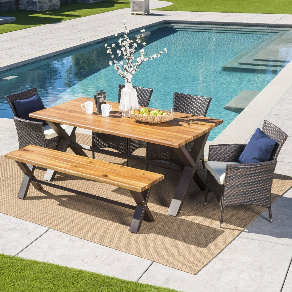 Ozark 6pc Acacia Wood/Wicker Patio Dining Set - Brown - Christopher Knight Home