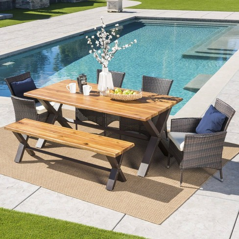 Ozark 6pc Acacia Wood/Wicker Patio Dining Set - Brown - Christopher Knight Home - image 1 of 4