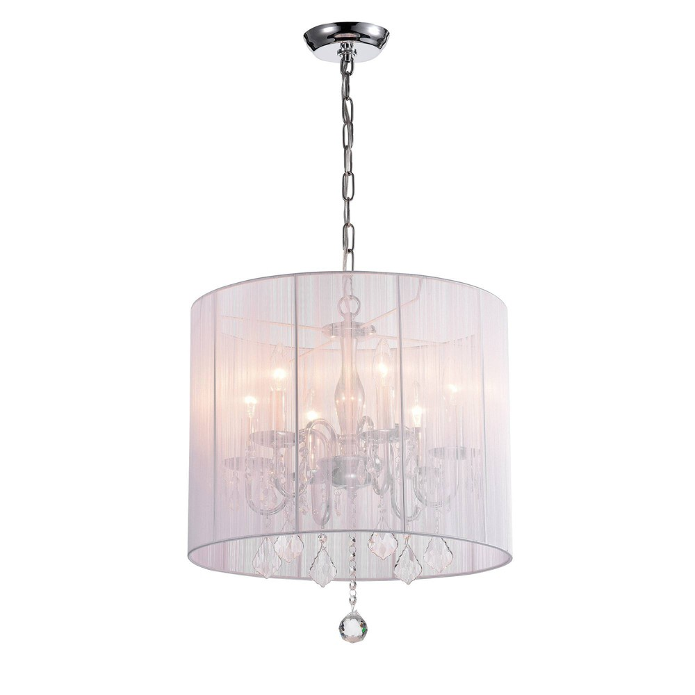 """Image of """"19"""""""" x 19"""""""" x 15"""""""" Crystal Hanging Lamp White - Warehouse of Tiffany"""""""