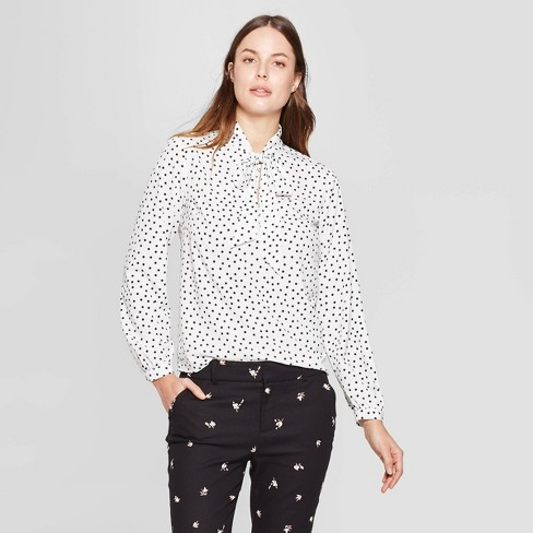 ad39ec4baf9f Women's Polka Dot Long Sleeve Tie-Front Top - A New Day™ Black/White ...