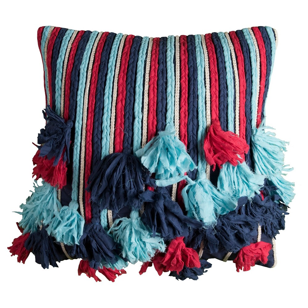 Image of Frayed Rope Throw Pillow - (18x18) - Rizzy Home, Multi-Colored