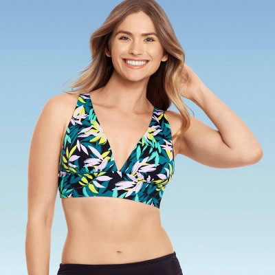 Women's Slimming Control Plunge Lace-Up Bikini Top - Beach Betty by Miracle Brands Black Multi M