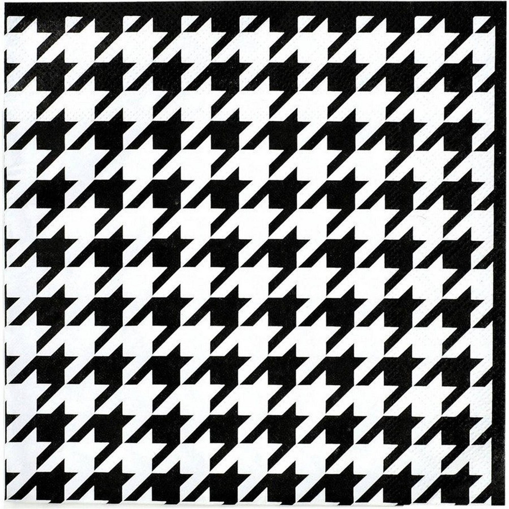 Image of 16ct Houndstooth Lunch Napkins Black/White