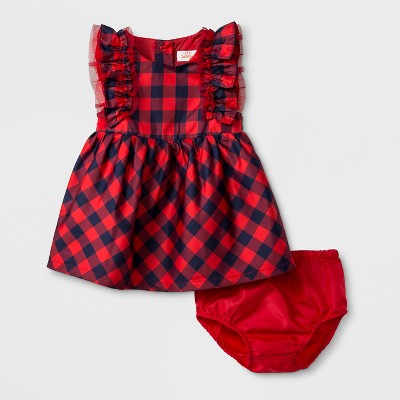 Baby Girls' Sleeveless Plaid Dress - Cat & Jack™ Red Plaid 0-3M