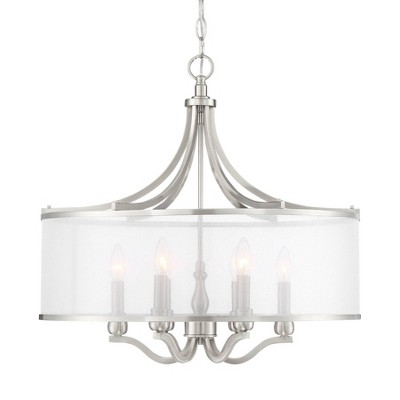 "Possini Euro Design Brushed Nickel Drum Pendant Chandelier 25"" Wide Modern White Organza Shade 6-Light Fixture Dining Room House"