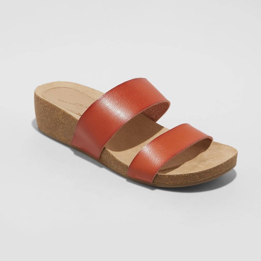 Women 39 S Kerryl Two Band Wedge Sandals Universal Thread 8482 Cognac 6 5