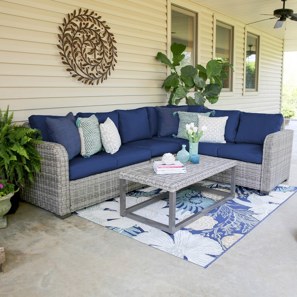 5pc Forsyth All-Weather Wicker Corner Sectional Navy (Blue) - Leisure Made