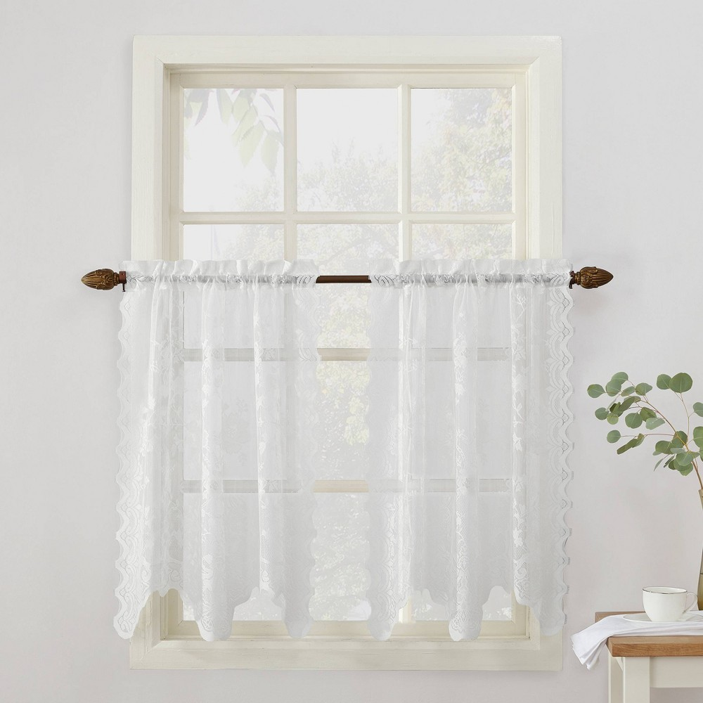 Alison Floral Sheer Lace Kitchen Curtain Swag Pair White (58