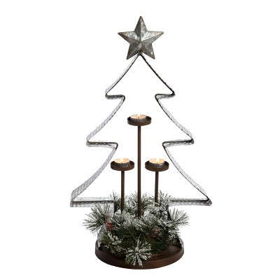 Transpac Metal 24 in. Multicolor Christmas Galvanized Tree Candle Holder