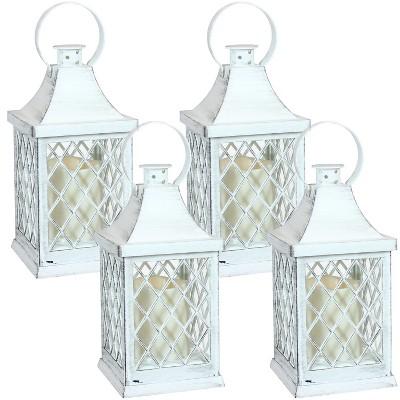 "4ct 10"" Ligonier Plastic and Glass Battery Operated Indoor LED Candle Lantern - White - Sunnydaze Decor"