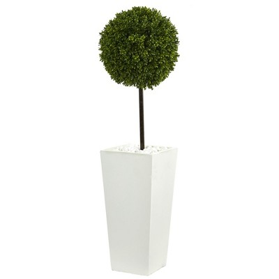 3.5ft Boxwood Ball Topiary Artificial Tree In White Tower Planter - Nearly Natural