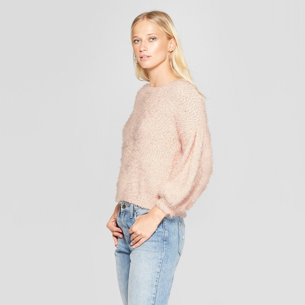 Women's Balloon Long Sleeve Eyelash Pullover Sweater - 3Hearts (Juniors') Blush M, Pink