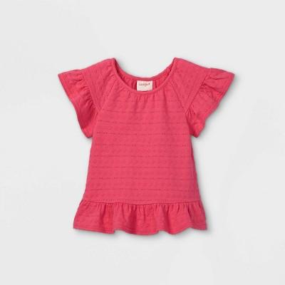 Toddler Girls' Eyelet Short Sleeve Blouse - Cat & Jack™ Pink