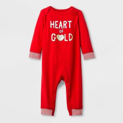 "Baby Boys' ""Heart of Gold"" Lap Shoulder Romper - Cat & Jack™ Red 0-3M"