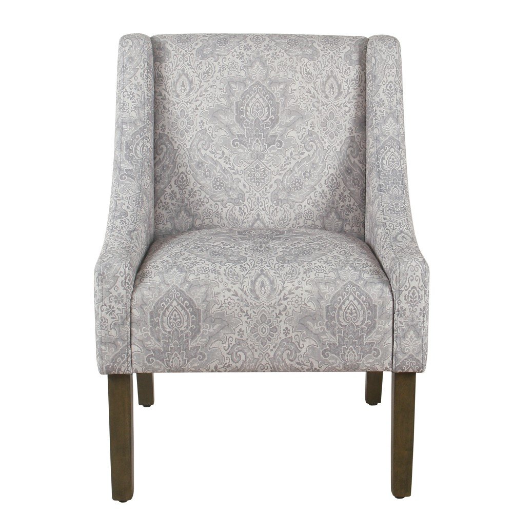 Modern Swoop Arm Chair Gray Damask - Homepop