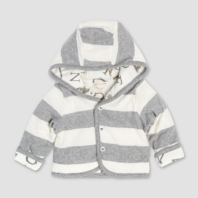 Burt's Bees Baby Organic Cotton A  Bee  C Reversible Quilted Jacket - Heather Gray 6-9M