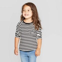 Toddler Girls' Long Sleeve Striped T-Shirt - Cat & Jack™ Black/White