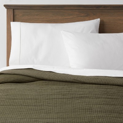 King Double Cloth Quilt Olive - Threshold™
