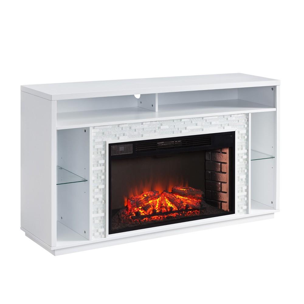 Calsworth Glass Tiled Media Fireplace White - Aiden Lane