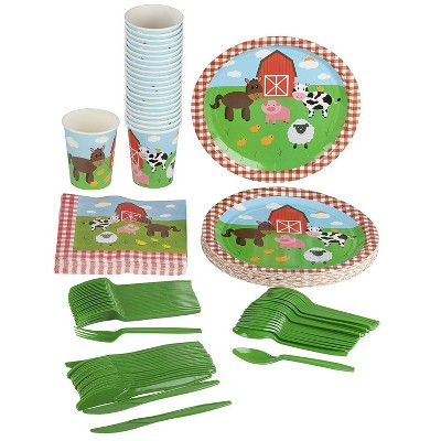 24 Set Kids Party Dinnerware with Plate Knife Spoon Fork Cup Napkin, Farm Animal