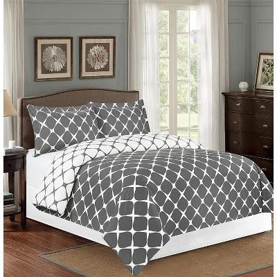 Elegant Comfort Luxury Bloomingdale Pattern 2-Tone Reversible 3-Piece Duvet Cover Set, Wrinkle and Fade Resistant.