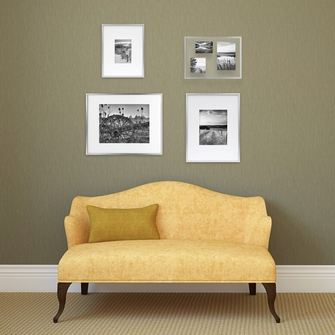 Metal Frame Brushed Silver 11x14 Matted For 5x7 Photo Room
