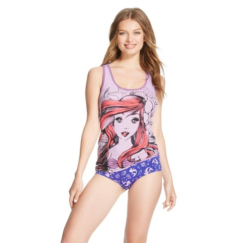Women's Disney Little Mermaid Hipster and Panty Set - Purple S - image 1 of 1