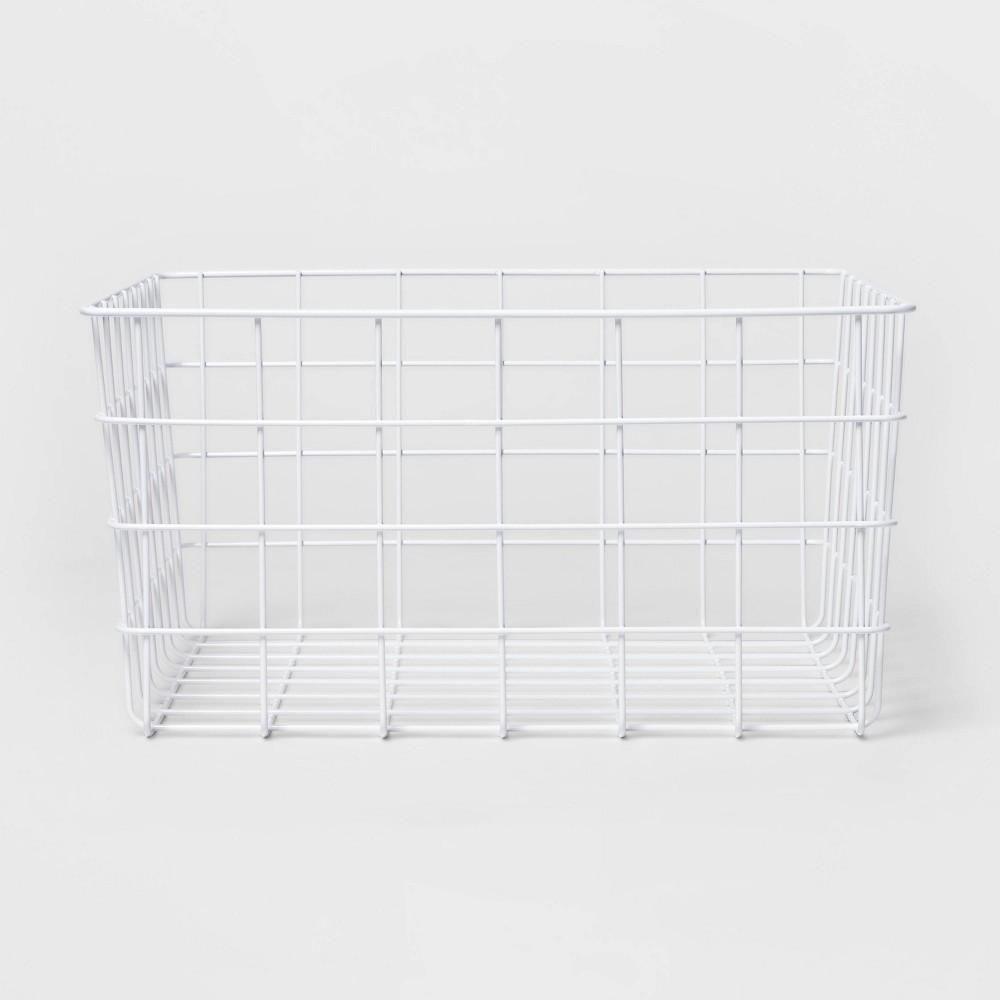 "Image of ""13"""" Rectangular Steel Decorative Baskets White - Room Essentials"""