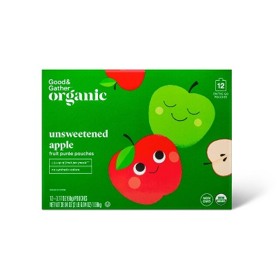 Organic Applesauce Pouches - Unsweetened Apple - 12ct - Good & Gather™