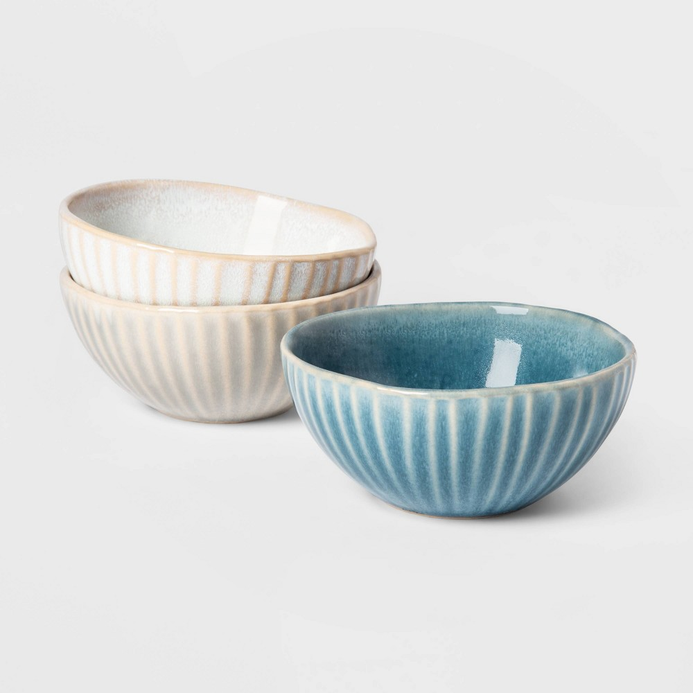 Image of Cravings by Chrissy Teigen 3pk Ceramic Condiment Bowls, Blue Gray White