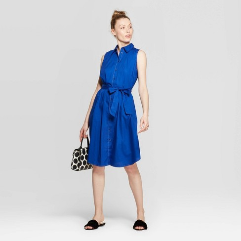 02abbb63eef8 Women's Sleeveless Collared Front Button-Down Shirtdress - Who What Wear™  Blue