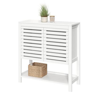 Slatted Double Door Cabinet with Open Shelf White - RiverRidge Home