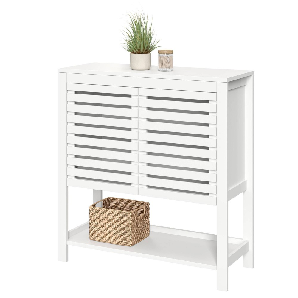 Image of Slatted Double Door Cabinet with Open Shelf White