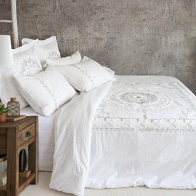 Harleson Medallion Comforter Set - White & Grey - Levtex Home