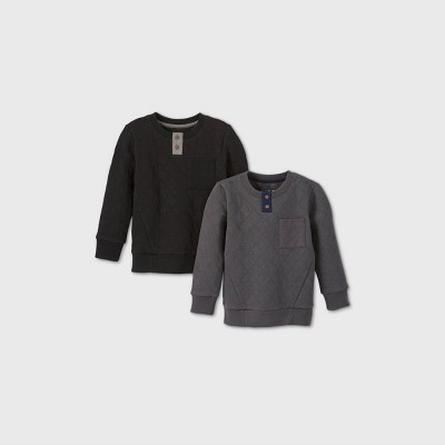 Toddler Boys' 2pk Quilted Crew Neck Sweatshirt - Cat & Jack™ Black/Gray