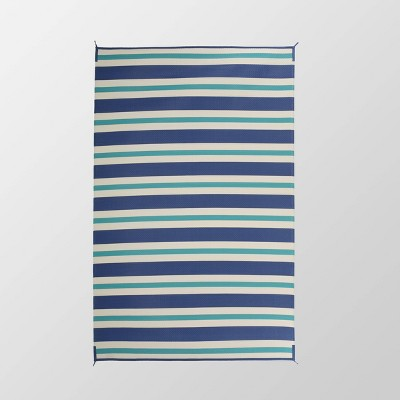 6'x9' Argosy Outdoor Modern Scatter Rug Turquoise/Cream - Christopher Knight Home