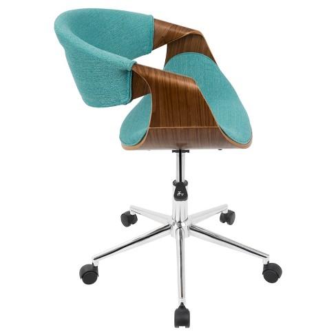 Curvo Mid Century Modern Office Chair Walnut And Teal Lumisource