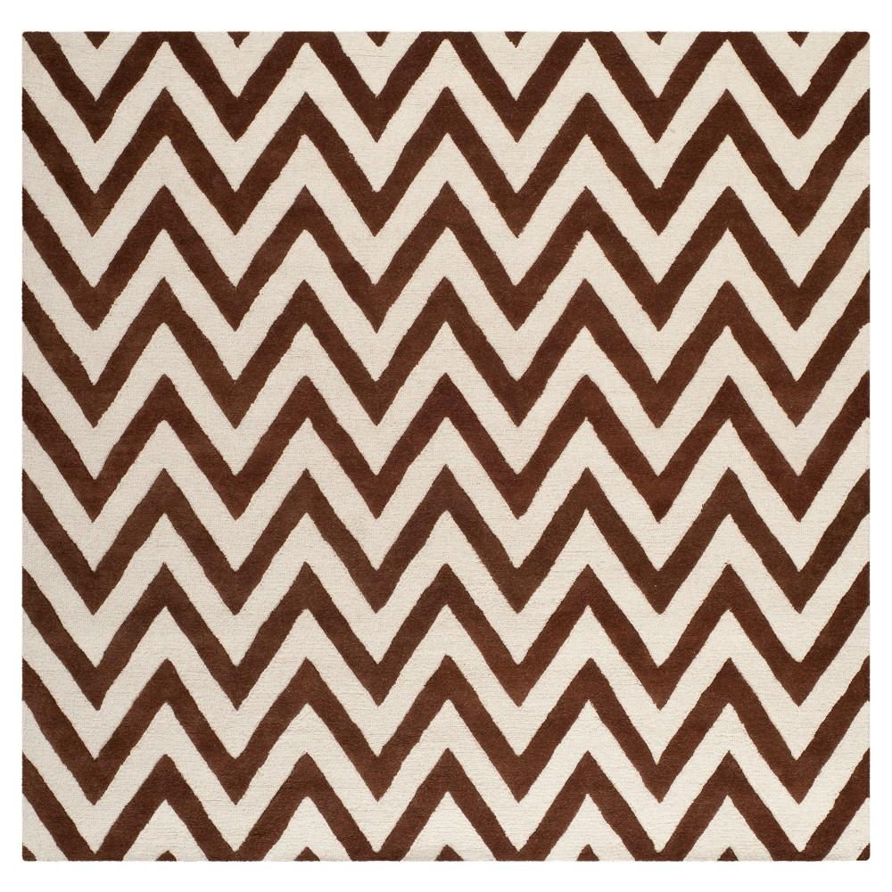 Dalton Textured Rug - Dark Brown / Ivory (8' X 8' Square) - Safavieh, Dark Brown/Ivory
