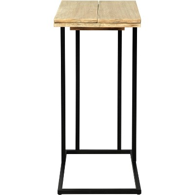 Harton Rustic Expandable C Side Table - Natural Wood - Serta