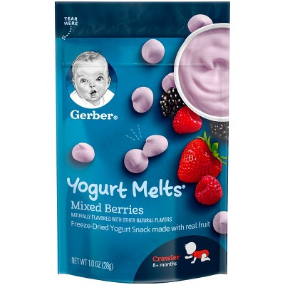 Gerber Yogurt Melts Freeze-Dried Yogurt & Fruit Snacks, Mixed Berries - 1oz