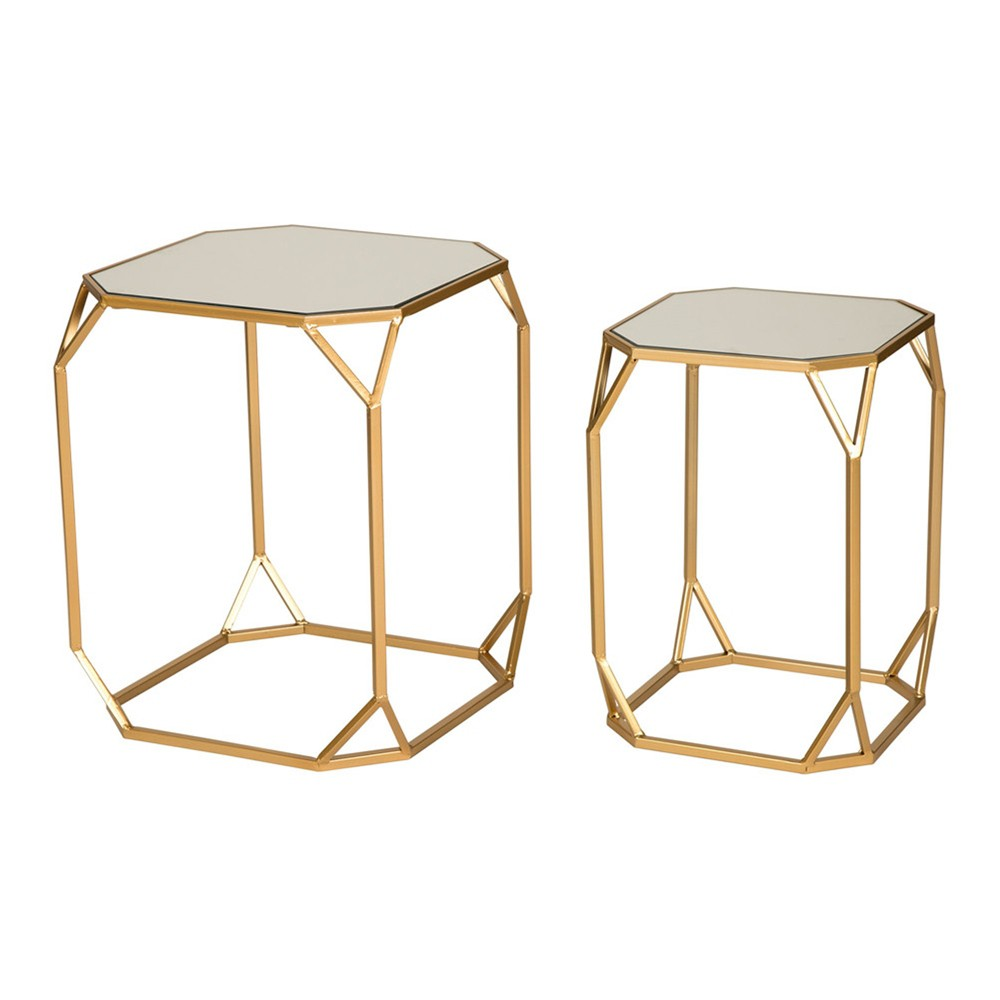 "Image of ""22"""" Metal With Glass Accent Table Set of 2 Gold - Glitzhome"""