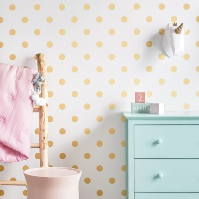 Peel & Stick Wallpaper Metallic Polka Dot Gold - Cloud Island™