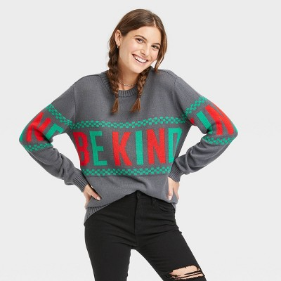 Women's Be Kind Holiday Graphic Pullover Sweater - Charcoal Gray